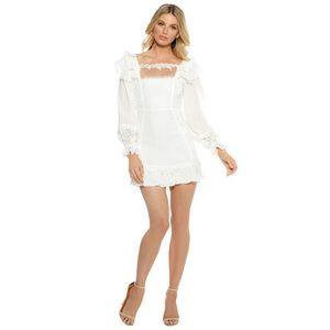 For Love & Lemons Crema Silk Linen Dress XS NWT